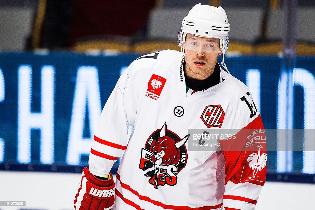 Captain Alexander Egger #17 of HC Bolzano is seen during the warm up for the Champions Hockey League group stage game between Linkoping HC and HC Bolzano on August 24, 2014 in Linkoping, Sweden.