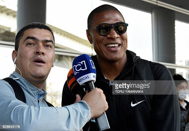 Captain Alexis Charales of Colombian football club Atletico Nacional answers questions upon their arrival at Kansai Airport in Izumisano Osaka...