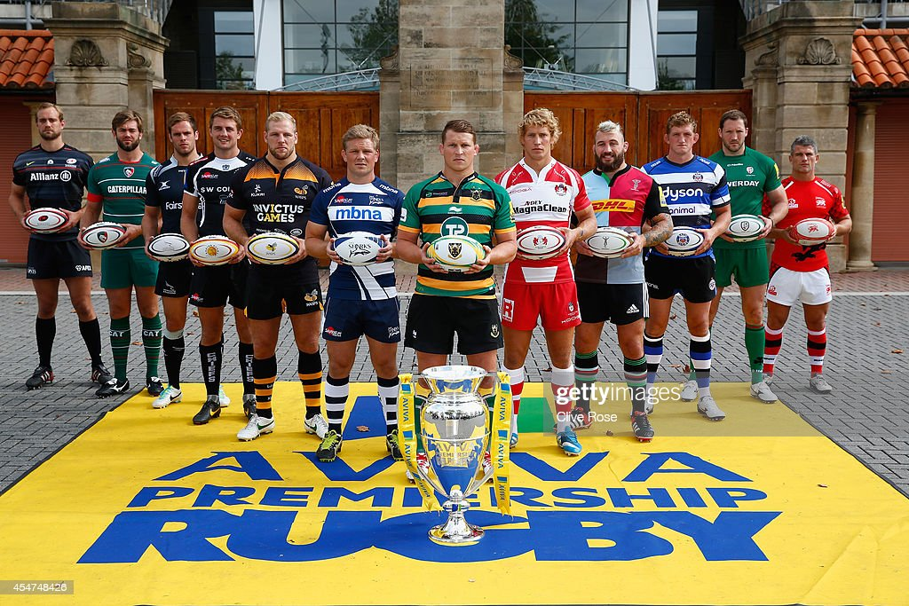 Captain Alistair Hargreaves of Saracens, Captain Geoff Parling of Leicester Tigers, Captain Will Welch of Newcastle Falcons, Captain Dean Mumm of Exeter Chiefs, Captain James Haskell of Wasps, Captain Daniel Braid of Sale Sharks, Captain Dylan Hartley of Northampton Saints, Captain Billy Twelvetrees of Gloucester Rugby, Captain Joe Marler of Harlequins, Captain Stuart Hooper of Bath Rugby, Captain Tom May of London Welsh pose during the Aviva Premiership Rugby 2014-2015 Season Launch at Twickenham Stadium on August 27, 2014 in London, England.