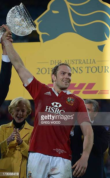 Captain Alun Wyn Jones from the British and Irish Lions holds up the trophy after his team's win over Australia following the third and final rugby...
