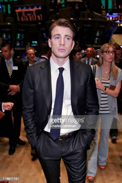 'Captain America' actor Chris Evans tours the trading floor at the New York Stock Exchange on July 11 2011 in New York City