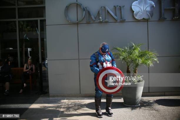 Captain America character stands outside of the Omni Hotel during Comic Con International in San Diego California on Thursday July 20 2017 Comic Con...
