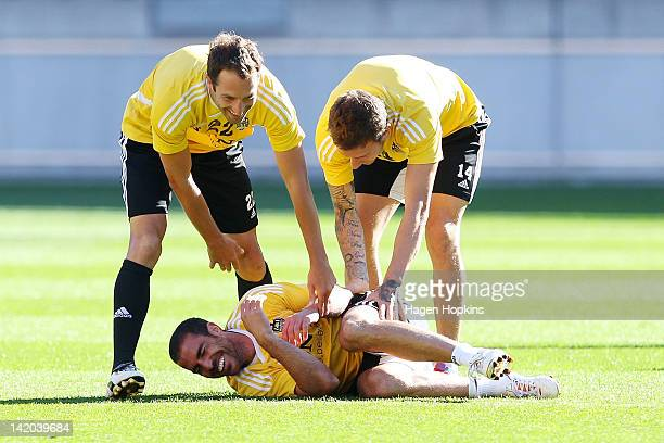 Captain Andrew Durante and Miran Pavlovic enjoy a laugh with Manny Muscat during a Wellington Phoenix ALeague training session at Westpac Stadium on...