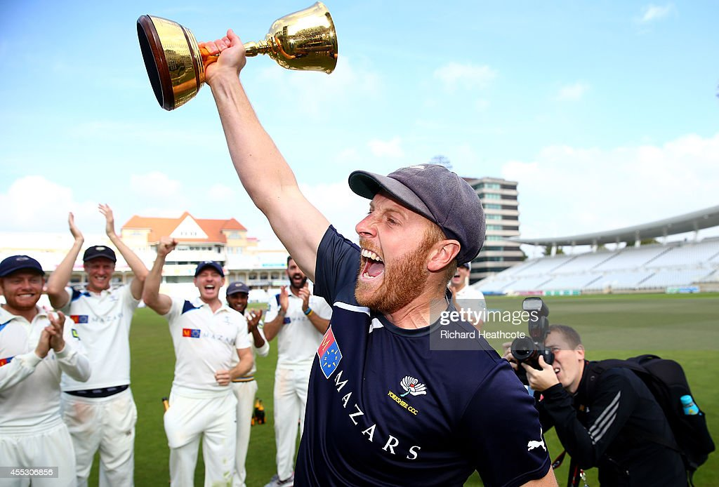 Captain Andrew Gale celebrates with the trophy after Yorkshire beat Notts to secure the league during the fourth day of the LV County Championship...