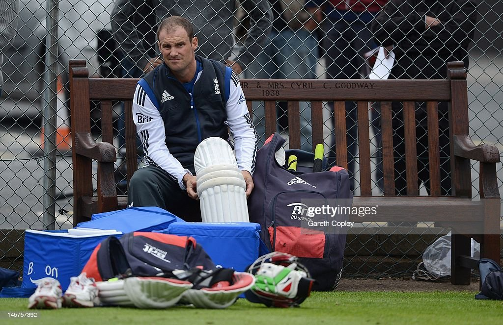 Captain Andrew Strauss of England looks on during a nets session at Edgbaston on June 5, 2012 in Birmingham, England.