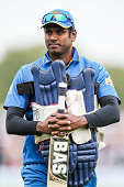 Captain Angelo Mathews of Sri Lanka looks on during the second One Day International game between New Zealand and Sri Lanka at Hagley Oval on...