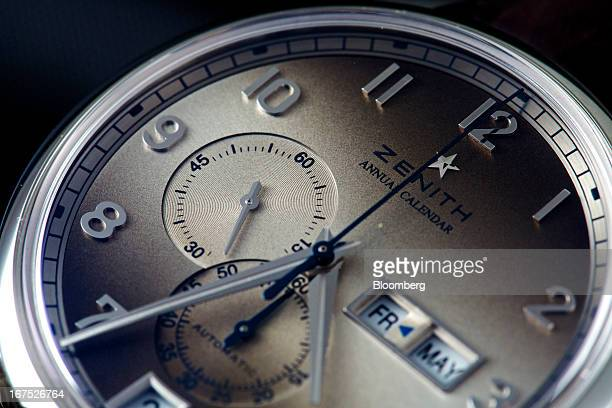 A Captain annual calendar wristwatch manufactured by Zenith a watchmaking unit of LVMH Moet Hennessy Louis Vuitton SA is seen during the Baselworld...