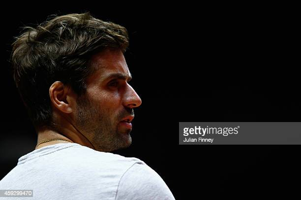 Captain Arnaud Clement of France looks on during previews for the Davis Cup Tennis Final between France and Switzerland at the Stade Pierre Mauroy on...