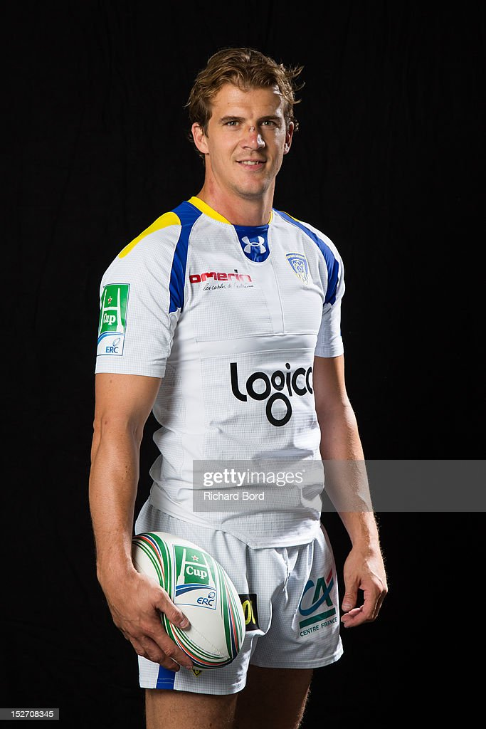 Captain <a gi-track='captionPersonalityLinkClicked' href=/galleries/search?phrase=Aurelien+Rougerie&family=editorial&specificpeople=220239 ng-click='$event.stopPropagation()'>Aurelien Rougerie</a> of ASM Clermont Auvergne poses during the Heineken Cup Launch at France Television HQ on September 24, 2012 in Paris, France.