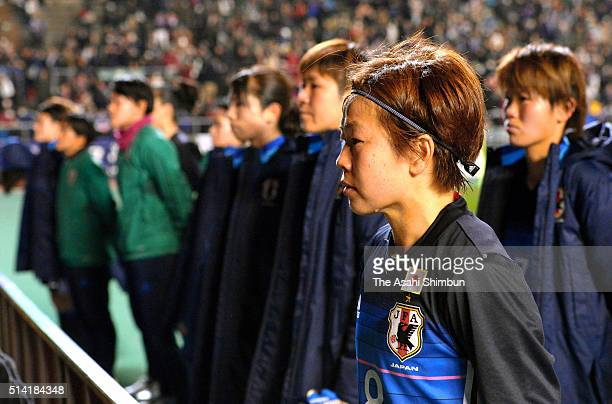 Captain Aya Miyama of Japan sheds tears after the AFC Women's Olympic Final Qualification Round match between Japan and China at Kincho Stadium on...