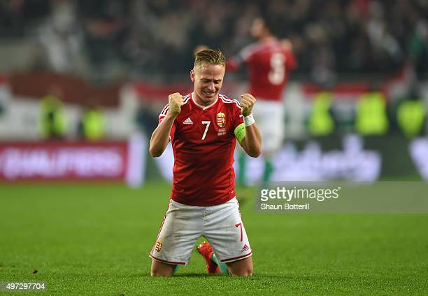 Captain Balazs Dzsudzsak of Hungary celebrates his team's 21 victory and qualification as the final whistle blows during the UEFA EURO 2016 Qualifier...