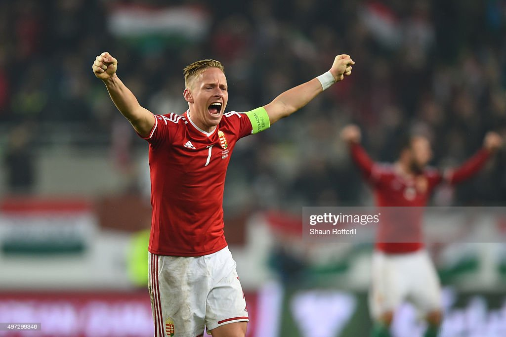 Captain Balazs Dzsudzsak of Hungary celebrates his team's 2-1 victory and qualification as the final whistle blows during the UEFA EURO 2016 Qualifier Play-Off, second leg match between Hungary and Norway at Groupama Arena on November 15, 2015 in Budapest, Hungary.
