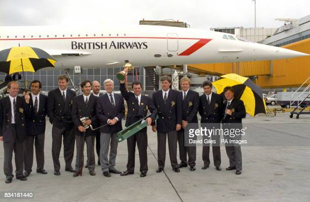 Captain Bernard Gallacher with the European Ryder Cup golf team after presenting a set of commemorative clubs to Lord MacFarlane chairman of United...