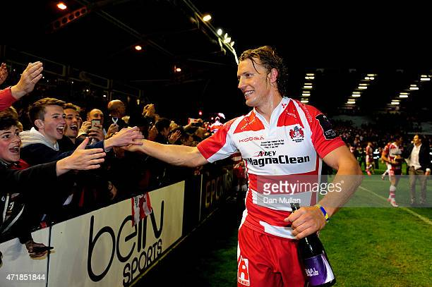 Captain Billy Twelvetrees of Gloucester celebrates following his team's victory during the European Rugby Challenge Cup Final match between Edinburgh...