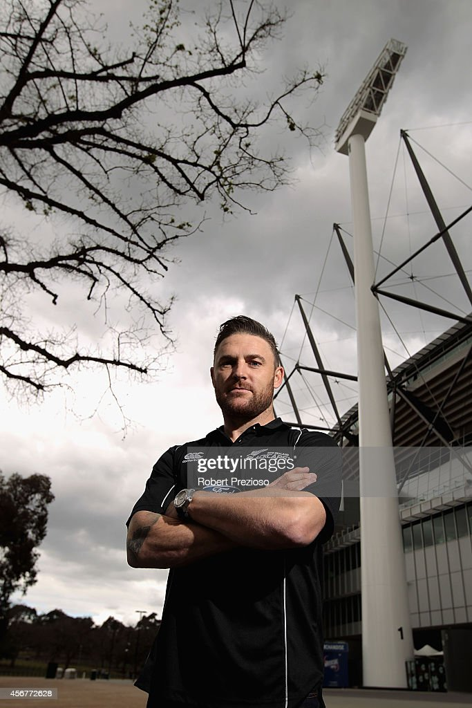 Captain Brendon McCallum poses for photos during a visit to Melbourne Cricket Ground as part of preparations for the ICC 2015 Cricket World Cup on...
