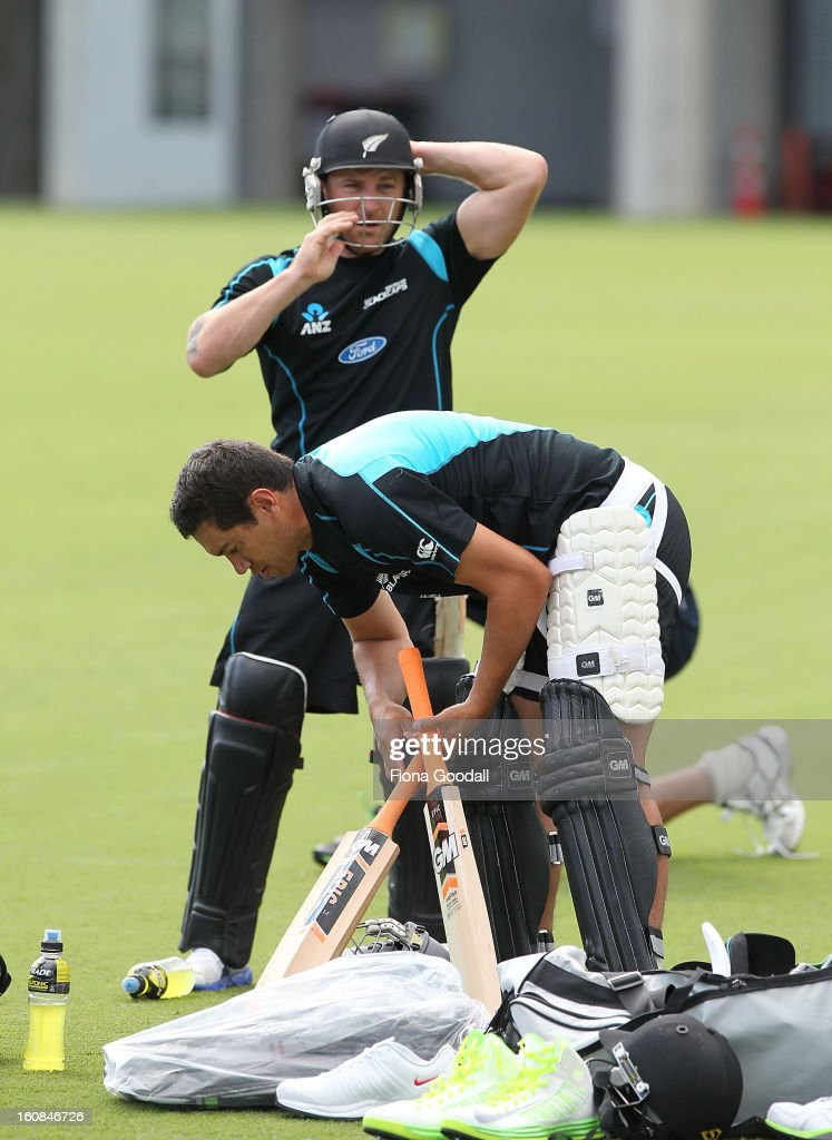 Captain Brendon McCullum with former captain Ross Taylor during a New Zealand training session at Eden Park on February 7, 2013 in Auckland, New Zealand.