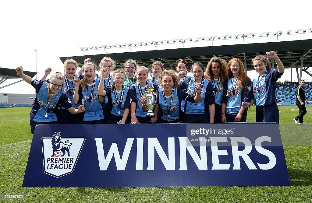 Captain, Brenna McPartlan of St Bede's School and team celebrates with the trophy during the Premier League U16 Schools Cup For Girls final between St Bede's School and Kings' School at the Etihad Campus on May 06, 2016 in Manchester, England.