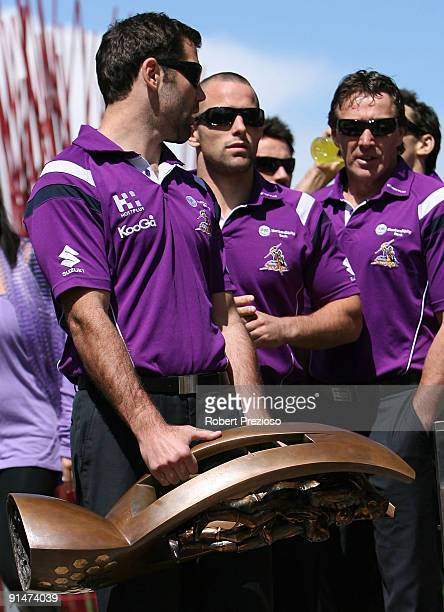 Captain Cameron Smith of the Melbourne Storm holds the NRL Premiership trophy during a Civic Reception at Federation Square on October 6 2009 in...