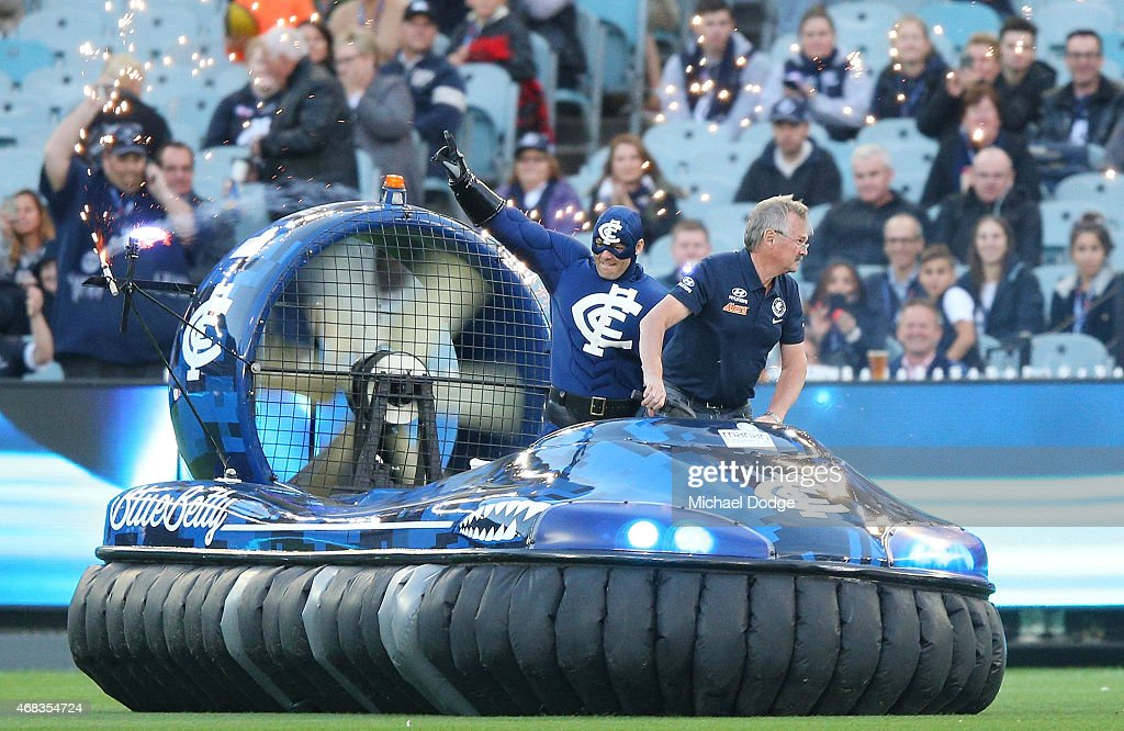 Captain Carlton comes out on the hovercraft during the round one AFL match between the Carlton Blues and the Richmond Tigers at Melbourne Cricket...