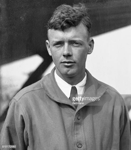 Captain Charles A Lindbergh is pictured at Curtiss Field from where he would attempt a nonstop flight to Paris in his Ryan monoplane 'Spirit of St...