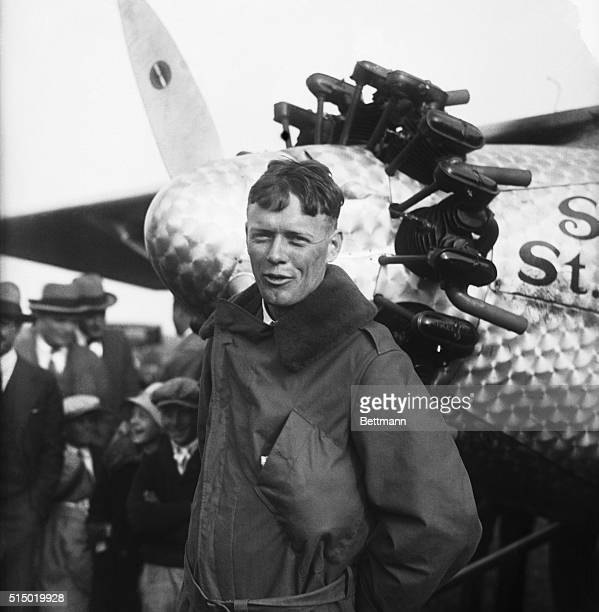 Captain Charles A Lindbergh the 25 year old Missouri National Guardsman and former air mail pilot landed in his record breaking Ryan Monoplane at...