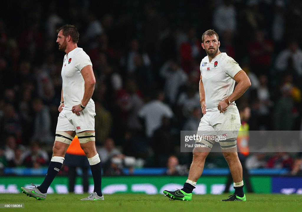 Captain Chris Robshaw and Tom Wood look dejected in defeat after the 2015 Rugby World Cup Pool A match between England and Wales at Twickenham...