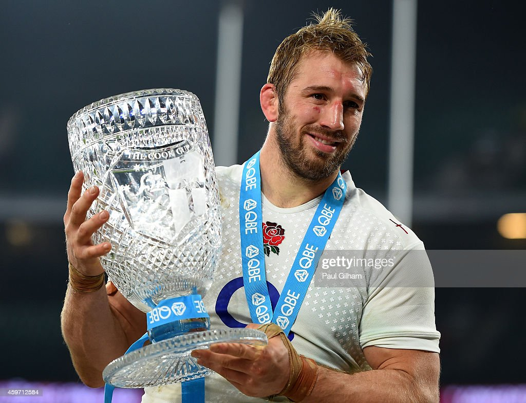 Captain Chris Robshaw of England poses with the Cook Cup after winning the QBE international match between England and Australia at Twickenham Stadium on November 29, 2014 in London, England.