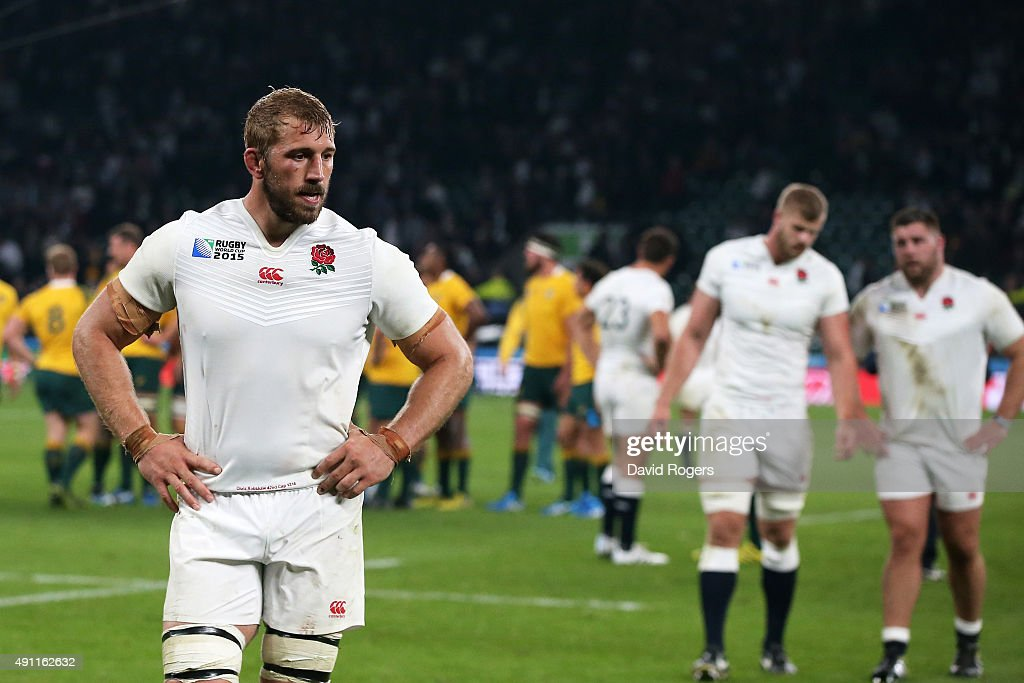 Captain <a gi-track='captionPersonalityLinkClicked' href=/galleries/search?phrase=Chris+Robshaw&family=editorial&specificpeople=2375303 ng-click='$event.stopPropagation()'>Chris Robshaw</a> of England walks off dejected during the 2015 Rugby World Cup Pool A match between England and Australia at Twickenham Stadium on October 3, 2015 in London, United Kingdom.