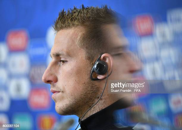 Captain Chris Wood has a moments reflection during a press conference after a training session of the New Zealand national football team on June 23...