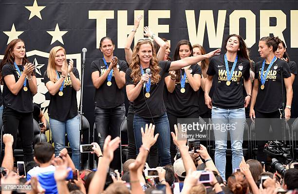Captain Christie Rampone of United States of America celebrates victory of the 2015 Women's World Cup with fans and her teammates during a rally at...