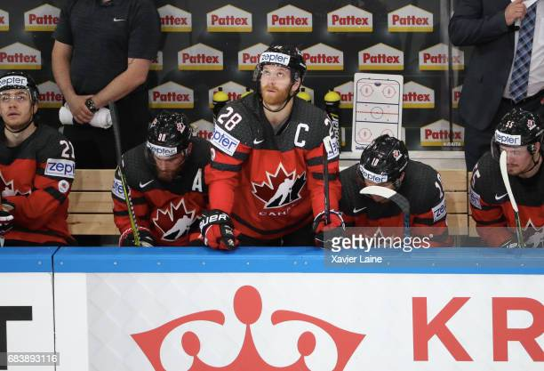 Captain Claude Giroux of Canada reacts during the 2017 IIHF Ice Hockey World Championship game between Canada and Finland at AccorHotels Arena on May...