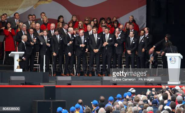 USA captain Corey Pavin forgets to name Stewart Cink as he names his Ryder Cup team during the opening Ceremony at Celtic Manor Newport