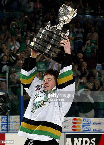 Captain Danny Syvret of the London Knights hoists the Memorial Cup after defeating the Rimouski Oceanic 40 in the Memorial Cup Tournament...