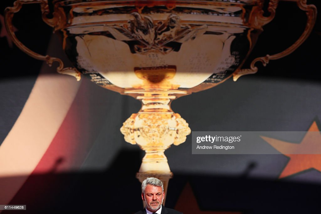 Captain Darren Clarke of Europe speaks during the 2016 Ryder Cup Opening Ceremony at Hazeltine National Golf Club on September 29, 2016 in Chaska, Minnesota.