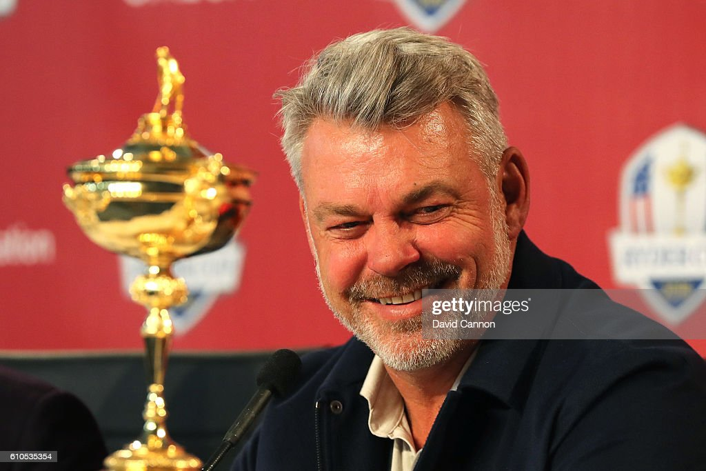 Captain Darren Clarke of Team Europe speaks during a press conference prior to the 2016 Ryder Cup at Hazeltine National Golf Club on September 26, 2016 in Chaska, Minnesota.