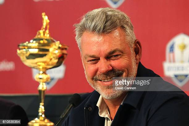 Captain Darren Clarke of Team Europe speaks during a press conference prior to the 2016 Ryder Cup at Hazeltine National Golf Club on September 26...