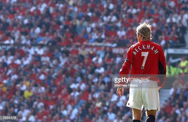Captain David Beckham lines up to take a corner kick during the FA Barclaycard Premiership match between Manchester United v Tottenham Hotspur at Old...
