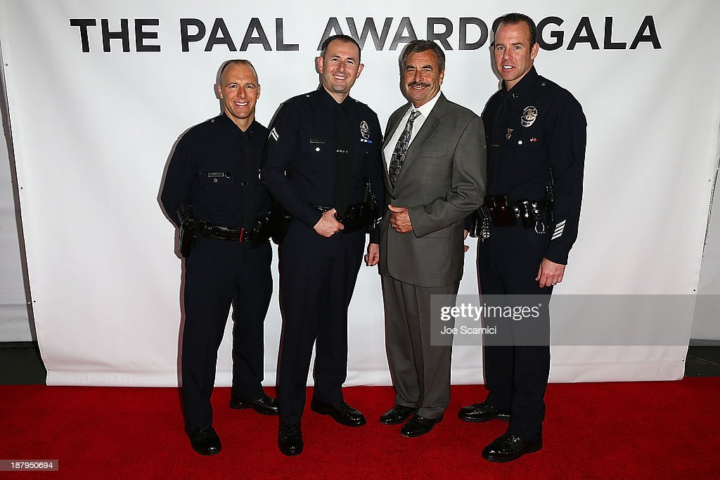 Captain David Kowalski, Police Officer 3 Darius Trugman, LAPD Chief <a gi-track='captionPersonalityLinkClicked' href=/galleries/search?phrase=Charlie+Beck&family=editorial&specificpeople=6324682 ng-click='$event.stopPropagation()'>Charlie Beck</a> and Captain Ed Prokop attend the 2013 Los Angeles Police Department South Los Angeles PAAL Awards Gala at Peterson Automotive Museum on November 13, 2013 in Los Angeles, California.