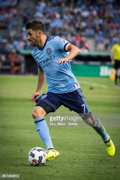 Captain David Villa of New York City FC sprints to the goal during the MLS match between the New York City FC and New York Red Bulls at Yankee...