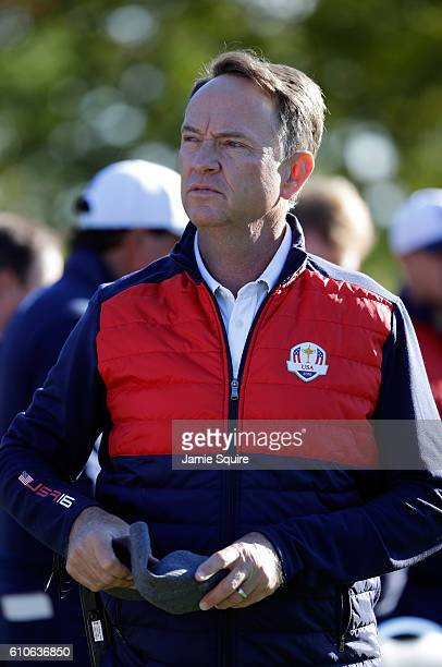 Captain Davis Love III looks on during team photocalls prior to the 2016 Ryder Cup at Hazeltine National Golf Club on September 27 2016 in Chaska...