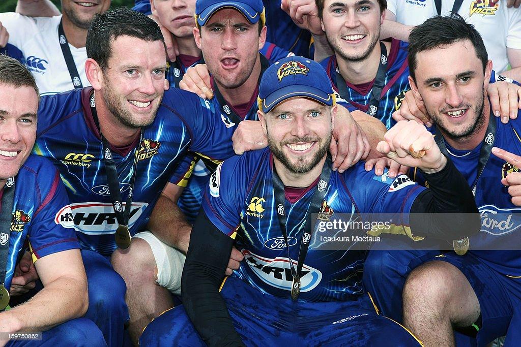 Captain Derek de Boorder (C) of Otago celebrates winning the HRV T20 Final match between the Otago Volts and the Wellington Firebirds at University Oval on January 20, 2013 in Dunedin, New Zealand.