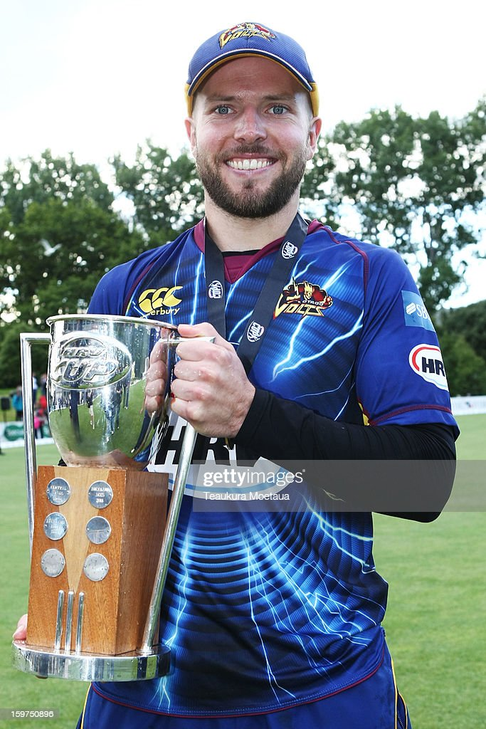 Captain Derek de Boorder (C) of Otago poses for a photo after winning the HRV T20 Final match between the Otago Volts and the Wellington Firebirds at University Oval on January 20, 2013 in Dunedin, New Zealand.