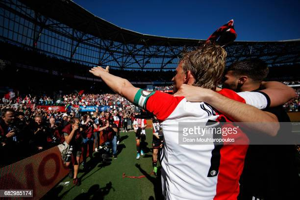 Captain Dirk Kuyt of Feyenoord Rotterdam celebrates with team mates infront of the home fans after winning the Dutch Eredivisie at De Kuip or Stadion...