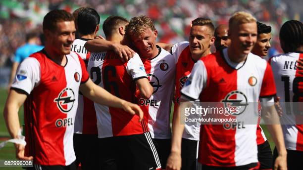 Captain Dirk Kuyt of Feyenoord Rotterdam celebrates with team mates in front of the home fans after winning the Dutch Eredivisie at De Kuip or...