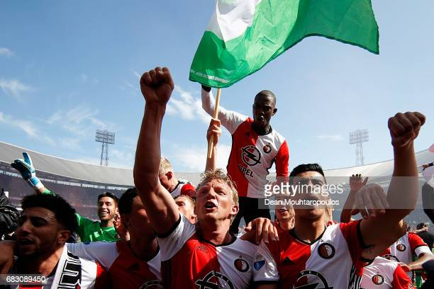 Captain Dirk Kuyt of Feyenoord Rotterdam leads celebrations with team mates after winning the Dutch Eredivisie at De Kuip or Stadion Feijenoord on...