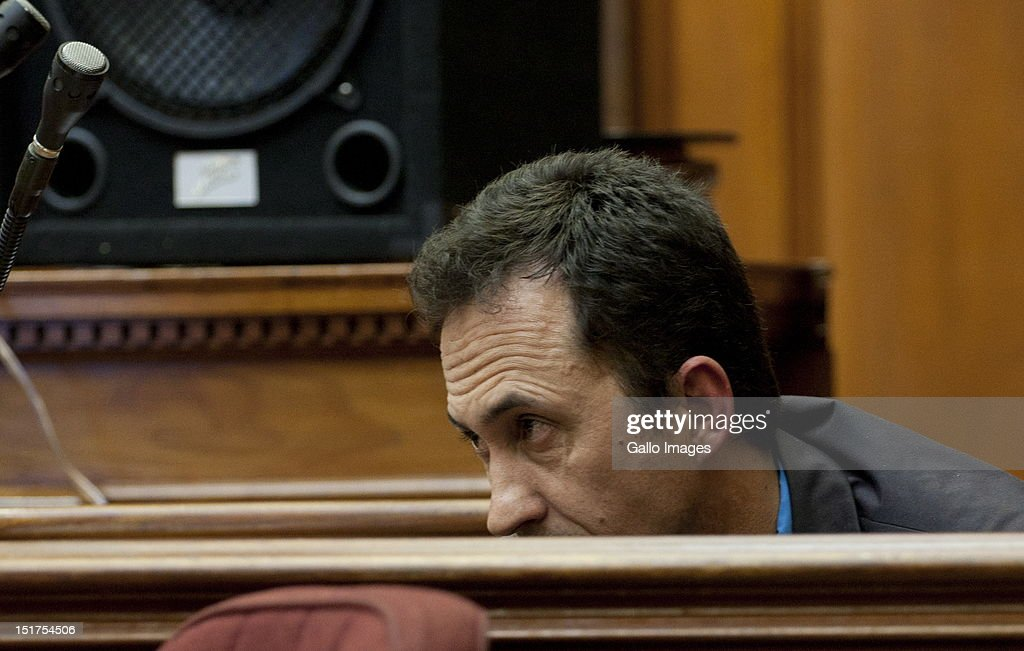 Captain Dolf Els appears at the Cape Town High Court, on September 3, 2012 in Cape Town, South Africa. Captain Dolf Els will give evidence regarding the statement made by Xolile Mngeni, charged with involvement in the murder of Anni Dewani, who was murdered whilst on honeymoon in South Africa. The deceased's husband Shrien Dewani remains in Britain fighting extradition as he faces accusations of allegedly plotting her murder.