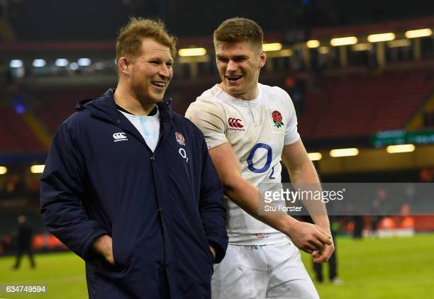 Captain Dylan Hartley and Owen Farrell share a joke after the RBS Six Nations match between Wales and England at Principality Stadium on February 11...