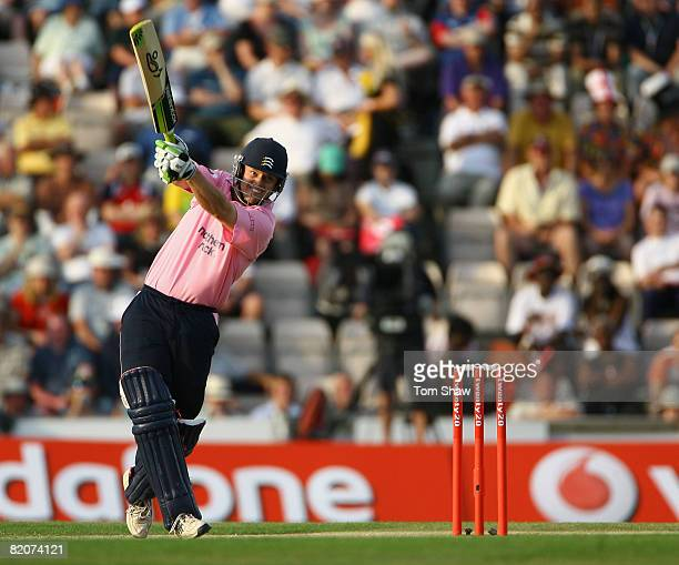 Captain Ed Joyce of Middlesex hits out during the Twenty20 Cup Final match between Kent and Middlesex at the Rosebowl on July 26 2008 in Southampton...