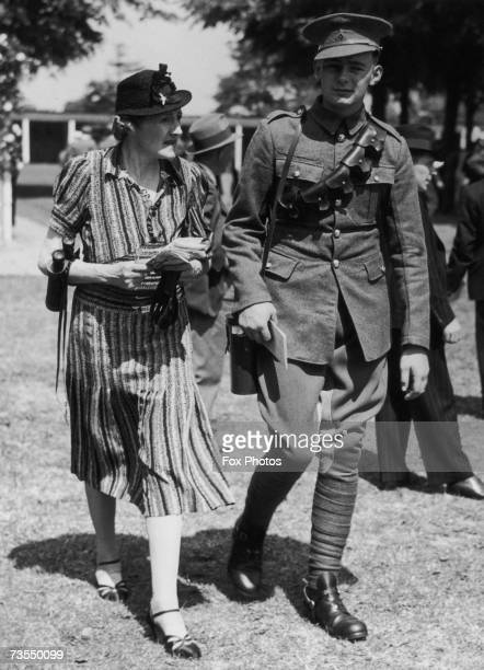 Captain Edward George 'Teddy' Lambton with his mother Cicely at the Windsor races 8th June 1940