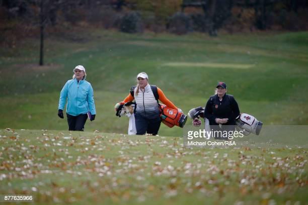 Captain Elaine FarquharsonBlack Alice Hewson and India Clyburn walk the fairway during Curtis Cup practice at Quaker Ridge GC on November 22 2017 in...
